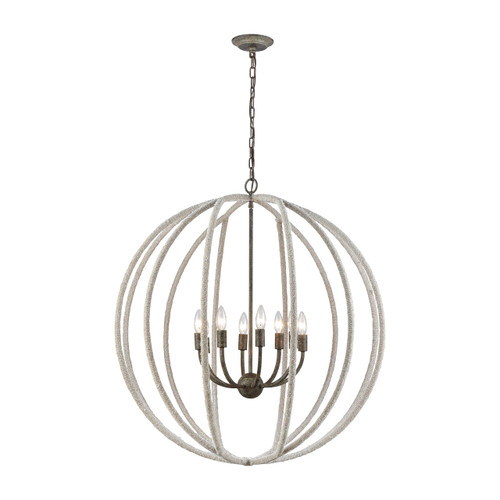 Nautical Hawser Roped Chandelier view with ceiling cap