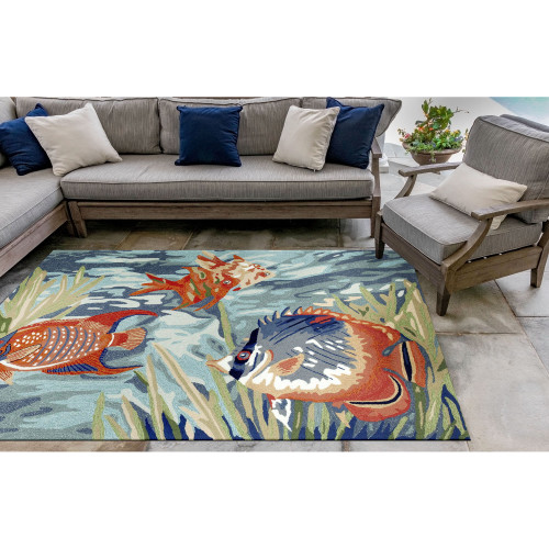 Bright Tropical Fish View Area Rug patio view