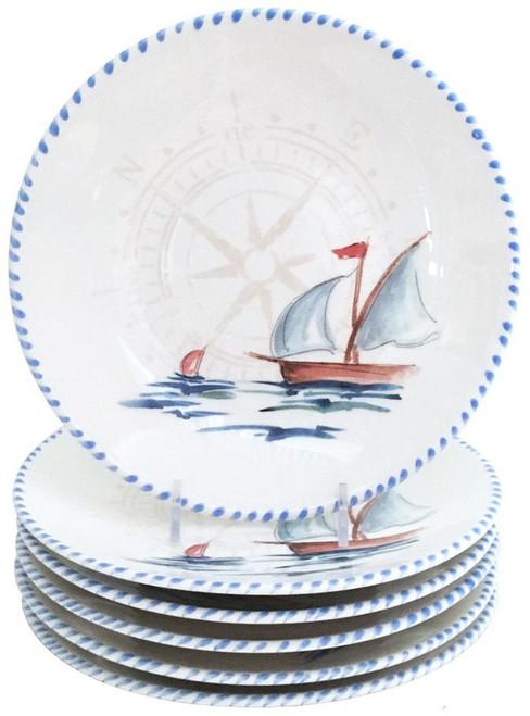 Sailboat Salad or Dessert Plates - Set of 6