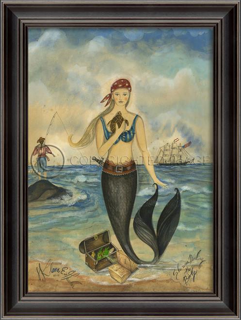 Pirate and Treasure Mermaid Wall Art - Black Frame