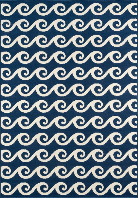 Navy Blue Baja Waves Area Rug