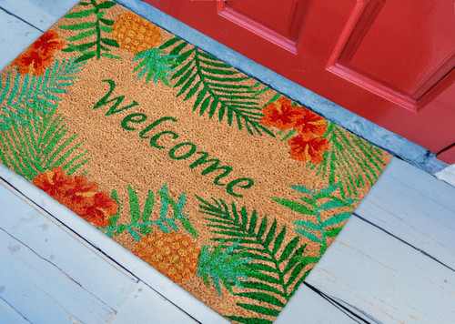Tropical Palm and Hibiscus Natura Door Mat front porch view