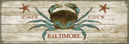 Custom Blue Crab Latitude-Longitude Beach Sign