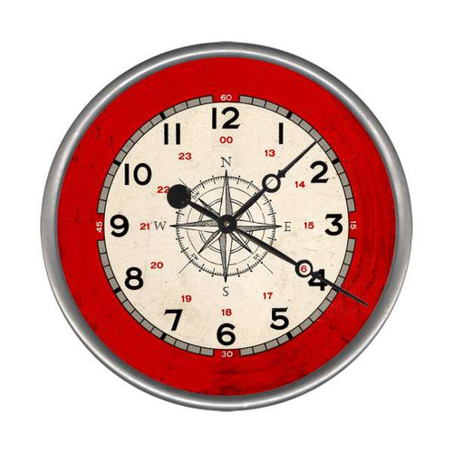 Nautical Compass Rose Custom Clock