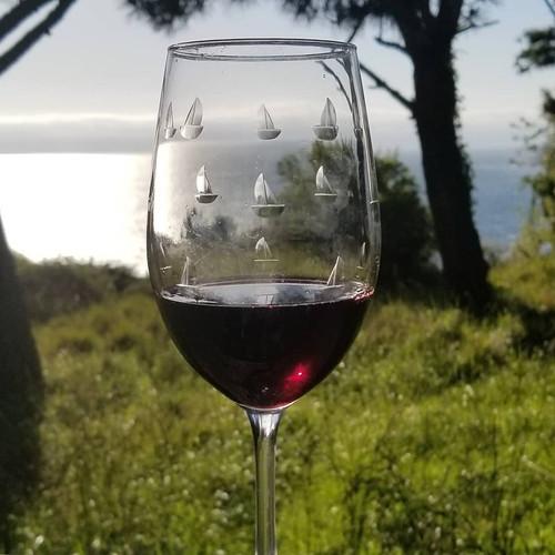 Sailing Etched Wine Glasses_Mendocino Coast