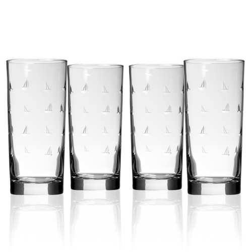 Sailing Etched Cooler Glasses - Set of