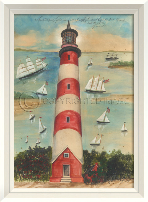 The Assateague Lighthouse Art with White Frame