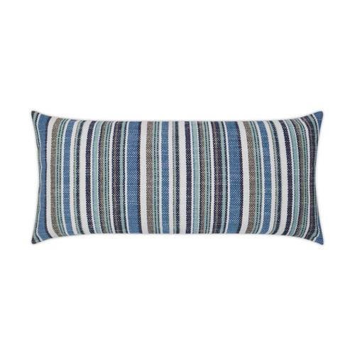 Fancy Navy Stripe Lumbar Indoor-Outdoor Lux Pillow