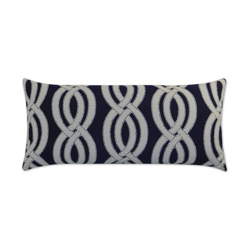 Seashore Navy Blue Lumbar Indoor-Outdoor Pillow