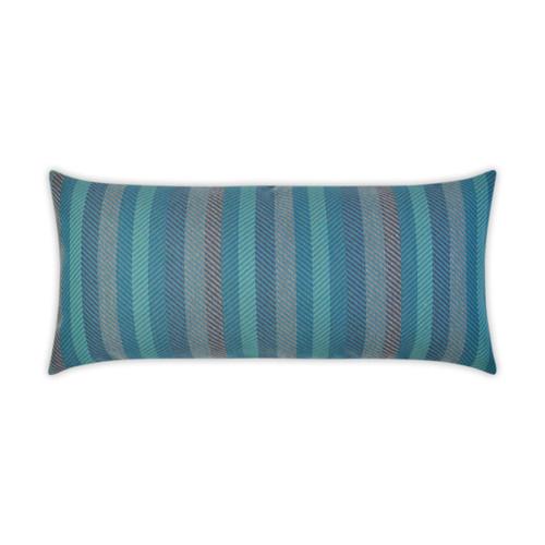 Latitude Peacock Lumbar Indoor-Outdoor Pillow