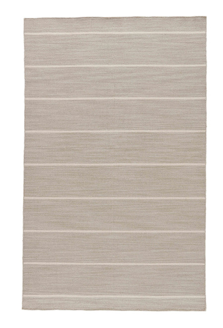 Coastal Shores Taupe Striped Wool Rug