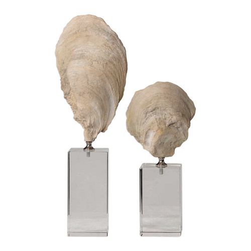 Oyster Shell Sculptures Set of 2