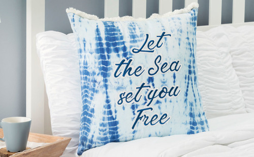 Let the Sea Set You Free Tie Dye Pillow room view 1