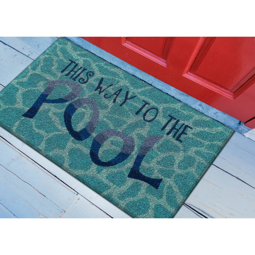 This Way to the Pool Natural Coir Mat floor view