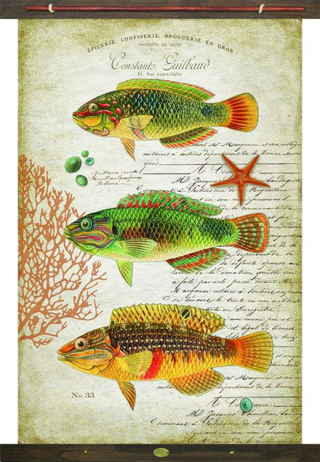Tropic Fish Vintage Canvas Tapestry Wall Art