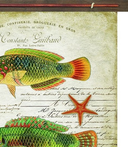 Tropic Fish Vintage Canvas Tapestry Wall Art close up