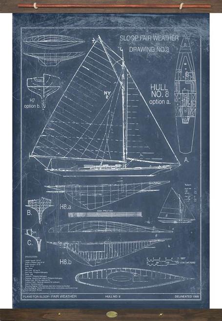 Sailboat Marine Drawings Vintage Tapestry Wall Art