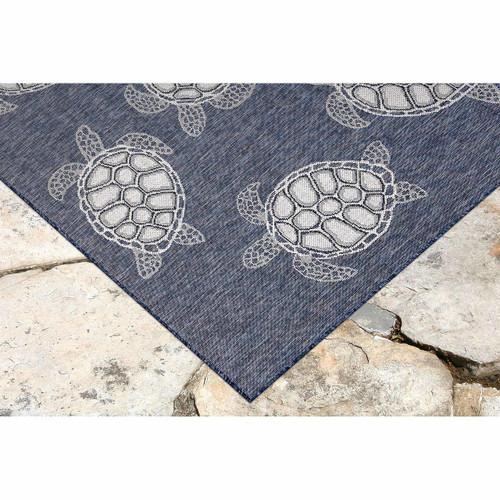 Blue Carmel Sea Turtle Rug corner image