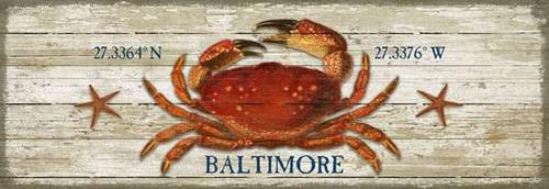 Custom Red Crab Latitude-Longitude Beach Sign