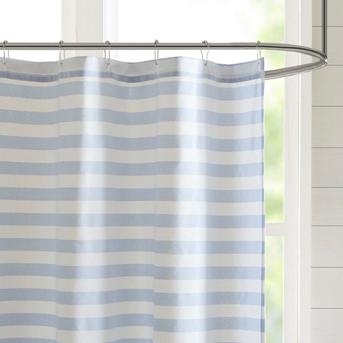 Navy Blue Ombre Striped Shower Curtain 2