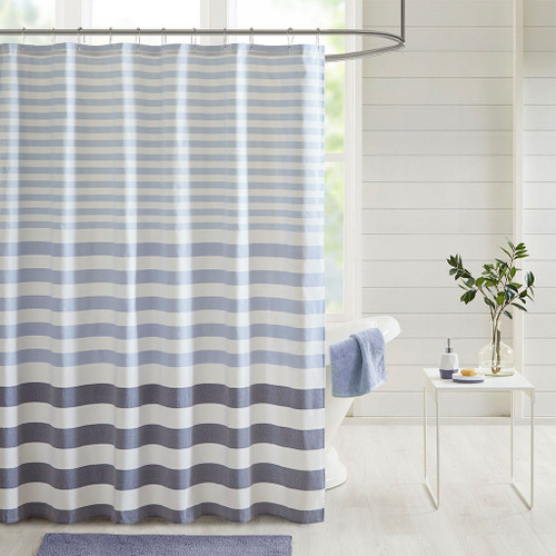 Navy Blue Ombre Striped Shower Curtain