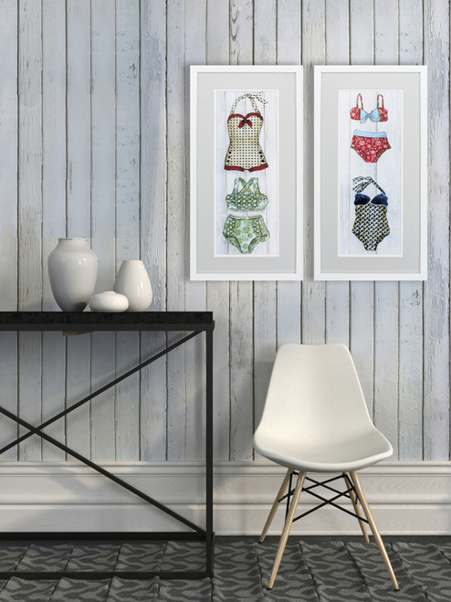 Vintage Bathing Suits Wall Art - Set of 2