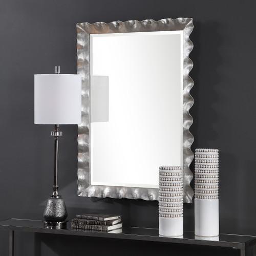 Haya Silvered Scallop Mirror room view