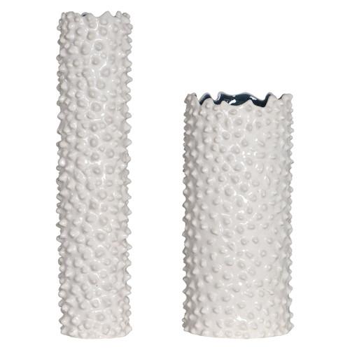 Fijian Reef White Vases - Set of 2