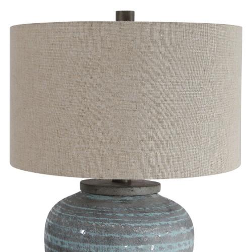 Pelia Light Aqua Striped Table Lamp close up 1