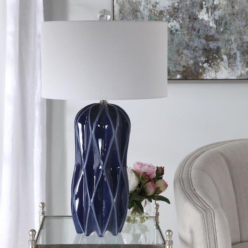 Malena Cobalt Blue Table Lamp room view