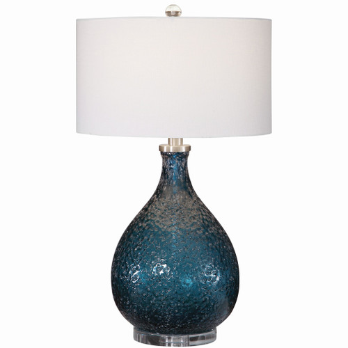 Cerulean Blue Seeded Glass Table Lamp