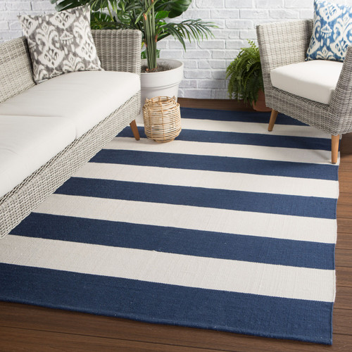 Remora Navy Blue Striped Rug outdoor room image