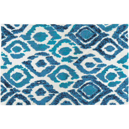 Blue and Turquoise Ikat Accent Rug