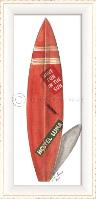 Red Hotel Luna White Surfboard Art