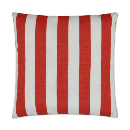 Classic Red and White Cabana Striped Outdoor Lux Pillow