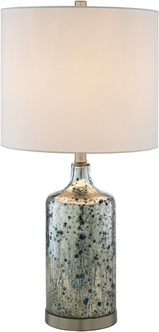 Ormand Blue Mercury Glass Table Lamp light on