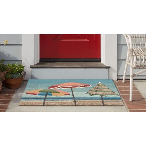 Aqua Beach Umbrellas Accent Rug front porch view