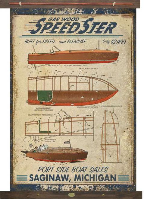 Vintage Speedboat Tapestry Wall Art