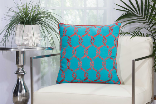 Coral Woven Ropes Turquoise Throw Pillow room view
