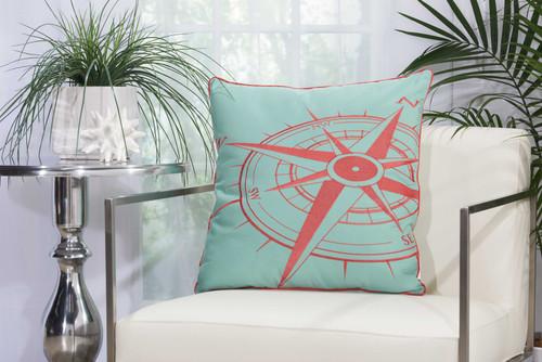 Embellished Aqua and Coral Compass Throw Pillow  room