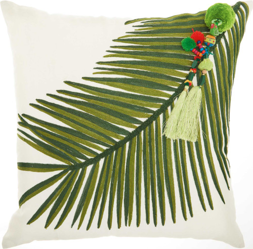 Royal Palm Embroidered Palm Throw Pillow - Right Tassel