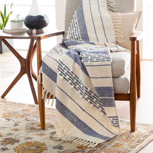San Onofre Navy and Cream Woven Throw room view