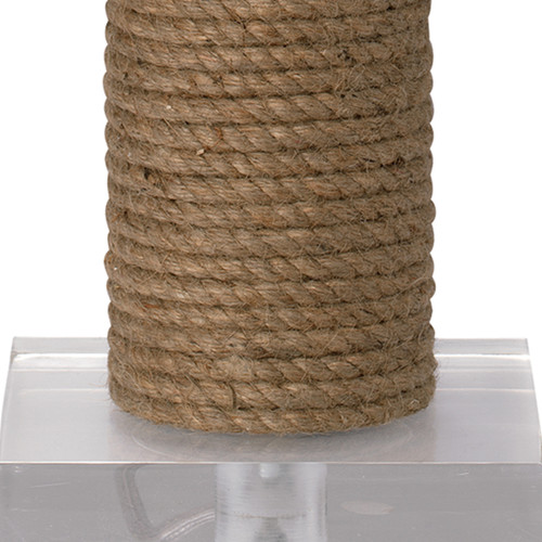 Cylinder Rope Table Lamp Wrapped in Jute close up of base