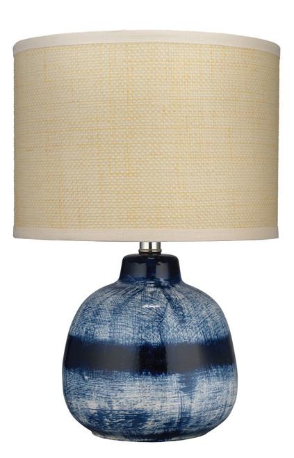 Small Batik Table Lamp in Indigo Ceramic- Cream Shade