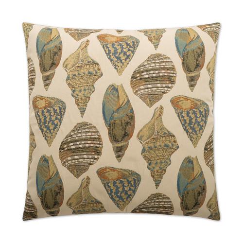 She Shells Embossed Luxury Coastal Pillow