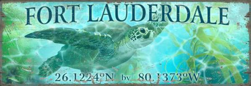 Custom Bright Green Sea Turtle Latitude-Longitude Art