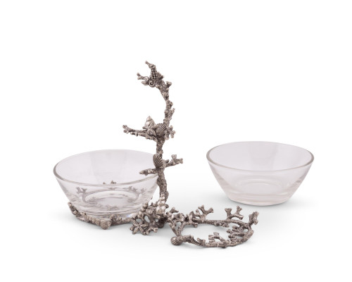 Coral Reef 2-Bowl Condiment Server front view