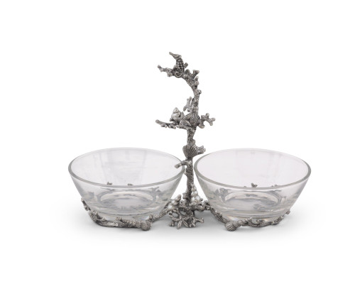 Coral Reef 2-Bowl Condiment Server back view