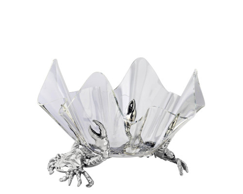 Polished Crab Stand with Acrylic Serving Bowl