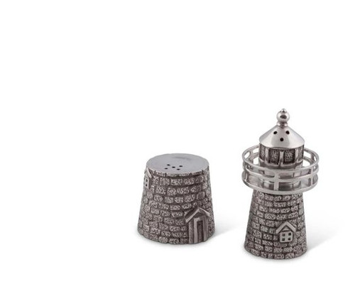 Lighthouse Salt and Pepper Shaker Set showing pieces separate